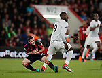 Lewis Cook of Bournemouth goes down following a clash with Romelu Lukaku of Manchester United during the premier league match at the Vitality Stadium, Bournemouth. Picture date 18th April 2018. Picture credit should read: David Klein/Sportimage