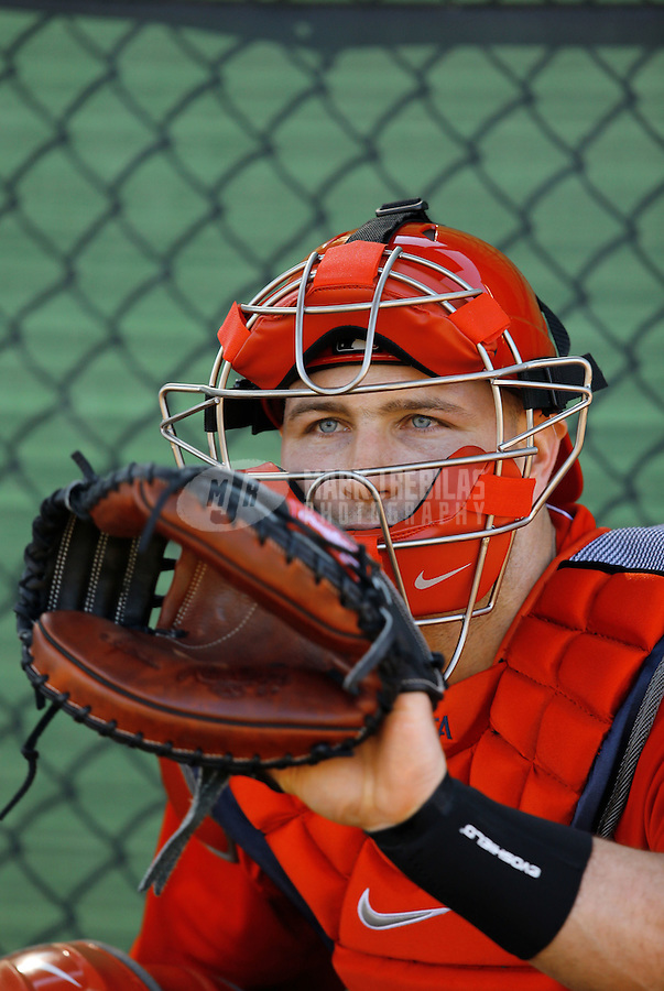 Feb. 12, 2013; Tempe, AZ, USA: Los Angeles Angels catcher Chris Iannetta catches during spring training at Tempe Diablo Stadium. Mandatory Credit: Mark J. Rebilas-USA TODAY Sports