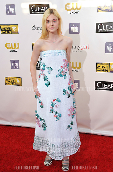 Elle Fanning at the 18th Annual Critics' Choice Movie Awards at Barker Hanger, Santa Monica Airport..January 10, 2013  Santa Monica, CA.Picture: Paul Smith / Featureflash