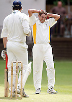 I Barrie (R) of Bessborough shows his frustration during the Middlesex County Cricket League Division Three game between North London and Bessborough at Park Road, Crouch End on Saturday June 12, 2010