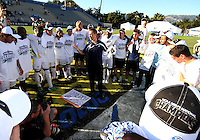 Coach Porter of the University of Akron talks to the players after the 2010 College Cup final against the University of Louisville at Harder Stadium, on December 12 2010, in Santa Barbara, California.Akron champions, 1-0.