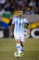 Argentina midfielder Javier Mascherano (14). Argentina and Ecuador played to a 0-0 tie during an international friendly at MetLife Stadium in East Rutherford, NJ, on November 15, 2013.