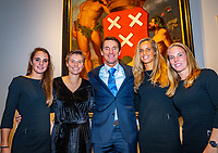 Den Bosch, The Netherlands, Februari 07 2019,  Maaspoort , FedCup  Netherlands - Canada, official diner, Dutch team ltr :Bibianne Schoofs, Demi Schuurs,captain Paul Haarhuis,  Aranxa Rus and Richel Hogenkamp<br /> Photo: Tennisimages/Henk Koster