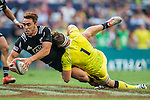 New Zealand vs Australia during the HSBC Sevens Wold Series match of the Cathay Pacific / HSBC Hong Kong Sevens at the Hong Kong Stadium on 28 March 2015 in Hong Kong, China. Photo by Xaume Olleros / Power Sport Images