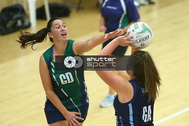 NELSON, NEW ZEALAND - JUNE 24: Saturday Netball on June 24 2017 in Nelson, New Zealand. (Photo by: Evan Barnes Shuttersport Limited)