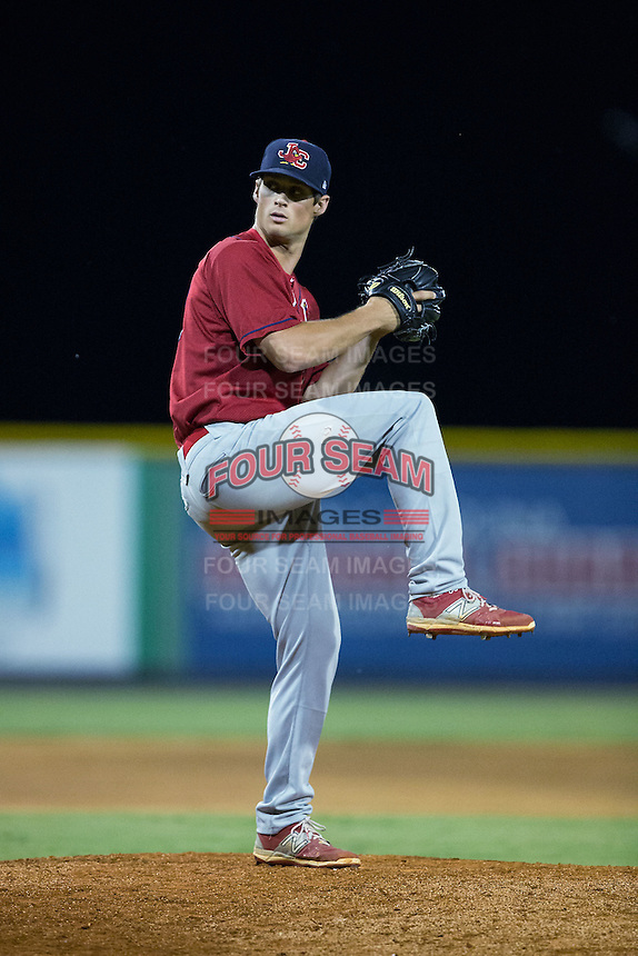 Johnson City Cardinals relief pitcher Chandler Hawkins (38) in action against the Burlington Royals at Burlington Athletic Park on August 22, 2015 in Burlington, North Carolina.  The Cardinals defeated the Royals 9-3. (Brian Westerholt/Four Seam Images)