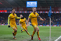 Tom Clarke of Preston North End (right) celebrates scoring his side's winning goal during the Sky Bet Championship match between Cardiff City and Preston North End at the Cardiff City Stadium, Cardiff, Wales on 29 December 2017. Photo by Mark  Hawkins / PRiME Media Images.