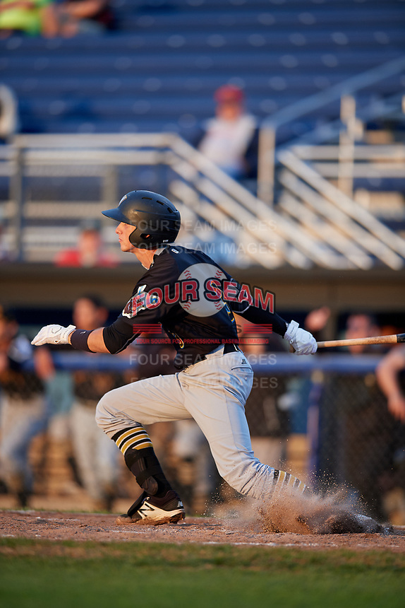 West Virginia Black Bears shortstop Brett Pope (3) follows through on a swing during a game against the Batavia Muckdogs on August 7, 2017 at Dwyer Stadium in Batavia, New York.  West Virginia defeated Batavia 6-3.  (Mike Janes/Four Seam Images)