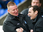 St Johnstone v St Mirren.....23.02.13      SPL.Steve Lomas and Danny Lennon share a joke.Picture by Graeme Hart..Copyright Perthshire Picture Agency.Tel: 01738 623350  Mobile: 07990 594431