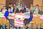ROAD SAFETY: Art winners of the Road Safety Calendar at county buildings Wednesday 16th of December from front l-r were: Brian Kenny and Sophia Rochford. Middle l-r were: Maeve O'Sullivan, Solas O'Halloran, Mayor of Kerry Bobby O'Connell, Charlie O'Sullivan, Eileeen McCarthy and Donagh Mcelligott. Back l-r were: Cathal O'Murchu, Peter O'Brien, Megan Kelly, Saoirse Doyle and Finnoula Trench.