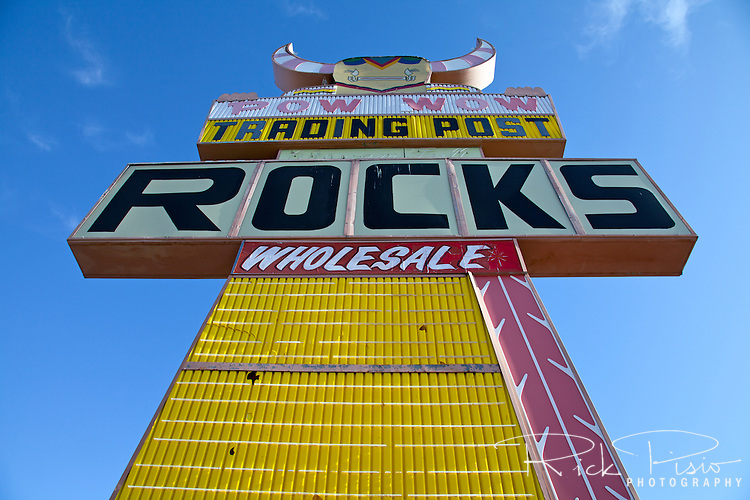 A large Kachina advertises the now closed Pow Wow Trading Post in Holbrook, Arizona.