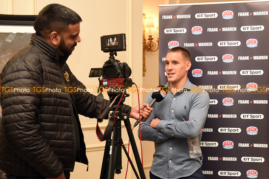 Boxer Liam Walsh is interviewed during a Press Conference at the Savoy Hotel on 7th March 2017