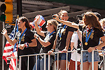 10 July 2015: From left: Ali Krieger, Amy Rodriguez, Shannon Boxx, and Kelley O'Hara. The United States Women's National Team was honored with a parade down New York City's Canyon of Heroes for winning the FIFA 2015 Women's World Cup in Canada.