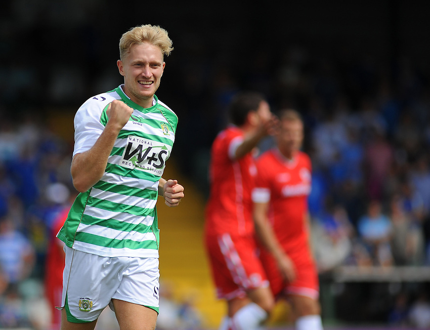 Yeovil Town's Ajay Leitch-Smith celebrates scoring the opening goal <br /> <br /> Photographer Kevin Barnes/CameraSport<br /> <br /> Football Friendly - Yeovil Town v Cardiff City - Sunday 27th July 2014 - Huish Park - Yeovil<br /> <br /> &copy; CameraSport - 43 Linden Ave. Countesthorpe. Leicester. England. LE8 5PG - Tel: +44 (0) 116 277 4147 - admin@camerasport.com - www.camerasport.com