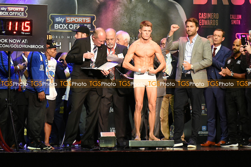 Boxer Charlie Edwards on the scales during a Weigh-In at the O2 Arena on 9th September 2016