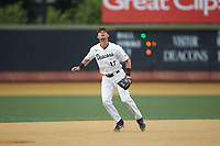 Wake Forest Demon Deacons third baseman Bruce Steel (17) on defense against the Davidson Wildcats at David F. Couch Ballpark on May 7, 2019 in  Winston-Salem, North Carolina. The Demon Deacons defeated the Wildcats 11-8. (Brian Westerholt/Four Seam Images)
