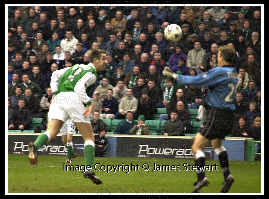 16/02/2002                 Copyright Pic : James Stewart .Ref :     .File Name : stewart-hibs v dunfermline 03.DEREK TOWNSLEY HEADS HOME HIBS EQUALISER.....James Stewart Photo Agency, Stewart House, Stewart Road, Falkirk. FK2 7AS      Vat Reg No. 607 6932 25.Office     : +44 (0)1324 630007     .Mobile  : + 44 (0)7721 416997.Fax         :  +44 (0)1324 630007.E-mail  :  jim@jspa.co.uk.If you require further information then contact Jim Stewart on any of the numbers above.........