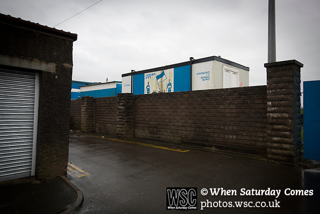 Port Talbot Town 3 Caerau Ely 0, 06/02/2016. Genquip Stadium, Welsh Cup fourth round. An exterior view of the ground before Port Talbot Town played host to Caerau Ely in a Welsh Cup fourth round tie at the Genquip Stadium, formerly known as Victoria Road. Formed by exiled Scots in 1901 as Port Talbot Athletic, they competed in local and regional football before being promoted to the League of Wales  in 2000 and changing their name to the current version a year later. Town won this tie 3-0 against their opponents from the Welsh League, one level below the welsh Premier League where Port Talbot competed, watched by a crowd of 113. Photo by Colin McPherson.