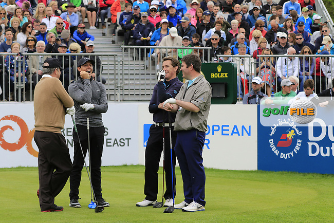 Rory McIlroy (NIR), J.P. McManus, A.P.McCoy and Kieran McManus on the 1st tee during Wednesday's Pro-Am of the 2016 Dubai Duty Free Irish Open hosted by Rory Foundation held at the K Club, Straffan, Co.Kildare, Ireland. 18th May 2016.<br /> Picture: Eoin Clarke | Golffile<br /> <br /> <br /> All photos usage must carry mandatory copyright credit (&copy; Golffile | Eoin Clarke)