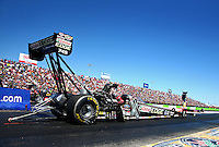 Sept. 21, 2013; Ennis, TX, USA: NHRA top fuel dragster driver Brittany Force during qualifying for the Fall Nationals at the Texas Motorplex. Mandatory Credit: Mark J. Rebilas-