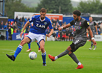 Lincoln City's Bruno Andrade vies for possession with Macclesfield Town's Fiacre Kelleher<br /> <br /> Photographer Andrew Vaughan/CameraSport<br /> <br /> The EFL Sky Bet League One - Macclesfield Town v Lincoln City - Saturday 15th September 2018 - Moss Rose - Macclesfield<br /> <br /> World Copyright &copy; 2018 CameraSport. All rights reserved. 43 Linden Ave. Countesthorpe. Leicester. England. LE8 5PG - Tel: +44 (0) 116 277 4147 - admin@camerasport.com - www.camerasport.com