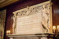 "A quote from Thomas Jefferson adorns the mantlepiece of a fireplace in the Trustee's Room in the New York Public Library main branch (Schwarzmann Building) on Wednesday, May 22, 2013. (© Richard B. ""evine)"