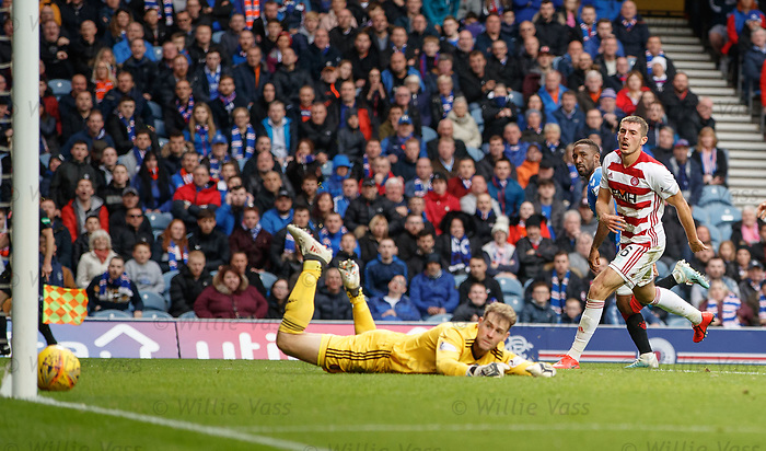 06.10.2019 Rangers v Hamilton: Jermain Defoe scores his second and Rangers fourth goal past Owain Fon Williams