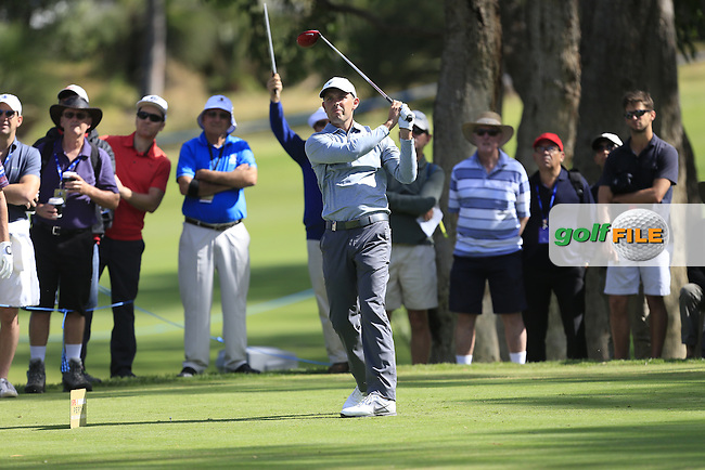 Charl Schwartzel (RSA) on the 2nd tee during Round 1 of the ISPS HANDA Perth International at the Lake Karrinyup Country Club on Thursday 23rd October 2014.<br /> Picture:  Thos Caffrey / www.golffile.ie