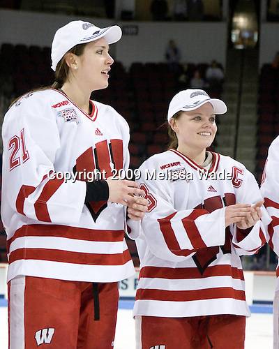 Angie Keseley (Wisconsin - 21), Erika Lawler (Wisconsin - 13) - The University of Wisconsin Badgers defeated the Mercyhurst College Lakers 5-0 to win the 2009 NCAA D1 National Championship in the Frozen Four final game at Agganis Arena, in Boston, Massachusetts, on Sunday, March 22, 2009.