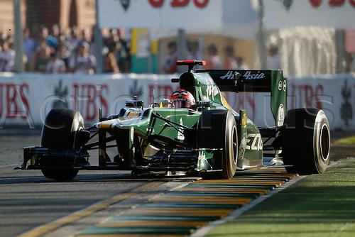 18.03.2012. Melbourne, Australia.   Heikki Kovalainen Lotus F1 GP Australia 2012 Formula 1 Grand Prix Australia Jenson Button won the race with Sebbastian Vettel in second and Lewis Hamilton in third place.