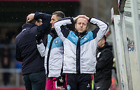 Reaction from Wycombe Wanderers Assistant Manager Richard Dobson & the bench as a shot goes narrowly wide during the Sky Bet League 2 match between Wycombe Wanderers and Luton Town at Adams Park, High Wycombe, England on 6 February 2016. Photo by Andy Rowland.