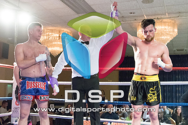 Richard Keeler VS Gareth Russell Photo by: Simon Downing<br /> <br /> Warrior Fight Nights 9 - Saturday 2nd April 2016. The Carrington House Hotel, Bournemouth, Dorset, United Kingdom.