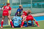 GER - Mannheim, Germany, April 15: During the field hockey 1. Bundesliga match between Mannheimer HC (blue) and Rot-Weiss Koeln (red) on April 15, 2018 at Am Neckarkanal in Mannheim, Germany. Final score 2-1. <br /> <br /> Foto &copy; PIX-Sportfotos *** Foto ist honorarpflichtig! *** Auf Anfrage in hoeherer Qualitaet/Aufloesung. Belegexemplar erbeten. Veroeffentlichung ausschliesslich fuer journalistisch-publizistische Zwecke. For editorial use only.