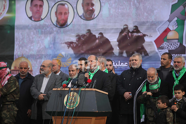 Senior Hamas leader Khalil El-Hayyah, speaks during rally marking the 27th anniversary of Hamas' founding, in Gaza City December 14, 2014. Photo by Ashraf Amra