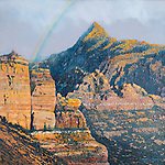 "Rainbow across the Kolob Canyons, part of Zion National Park, Utah. Oil on canvas, 15"" x 15""."