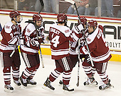 Michael Pereira (UMass - 7), Danny Hobbs (UMass - 11), Joel Hanley (UMass - 44), Michael Marcou (UMass - 22) and Steven Guzzo (UMass - 9) celebrate Hobbs' goal. - The Boston College Eagles defeated the visiting University of Massachusetts-Amherst Minutemen 2-1 in the opening game of their 2012 Hockey East quarterfinal matchup on Friday, March 9, 2012, at Kelley Rink at Conte Forum in Chestnut Hill, Massachusetts.