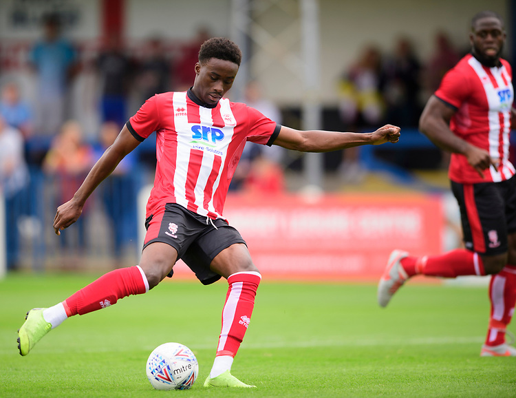 Lincoln City's Jordan Adebayo-Smith scores the opening goal<br /> <br /> Photographer Chris Vaughan/CameraSport<br /> <br /> Football Pre-Season Friendly (Community Festival of Lincolnshire) - Lincoln City v Lincoln United - Saturday 6th July 2019 - The Martin & Co Arena - Gainsborough<br /> <br /> World Copyright © 2018 CameraSport. All rights reserved. 43 Linden Ave. Countesthorpe. Leicester. England. LE8 5PG - Tel: +44 (0) 116 277 4147 - admin@camerasport.com - www.camerasport.com