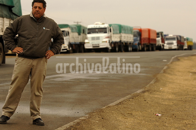 President of the Agrarian Federation of Entre Rios Alfredo de Angeli, at the block road in Gualeguaychu. De Angeli was the more prominent leader of the farmers rebellion in Argentina, that confronted President Cristina Fernandez de Kirchner during a 100-day-long strike.
