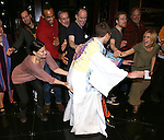 Curtis Holbrook with Idina Menzel, Anthony Rapp, Jenn Colella and company during the Broadway Opening Night  AEA Gypsy Robe Ceremony honoring Curtis Holbrook for  'IF/THEN' at the Richard Rodgers Theatre on March 30, 2014 in New York City.