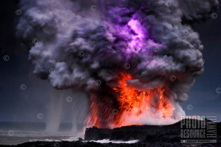 Explosions, lightning, steam and water spouts where lava from the Big Island's Kilauea Volcano reaches the Pacific Ocean
