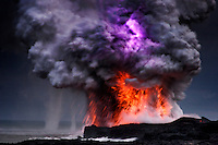 Explosions, lightning, steam and water spouts where lava fromthe Big Island's Kilauea Volcanoreaches the Pacific Ocean