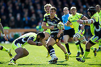 Ollie Devoto of Bath Rugby passes the ball. Aviva Premiership match, between Bath Rugby and Sale Sharks on April 23, 2016 at the Recreation Ground in Bath, England. Photo by: Patrick Khachfe / Onside Images