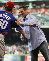 Former Astros star Craig Biggio greets Phillies pitcher Jamie Moyer on Friday May 23rd at Minute Maid Park in Houston, Texas. Photo by Andrew Woolley / Baseball America.
