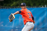 Greeneville Astros pitcher Albert Abreu (36) throws a bullpen session prior to the game against the Kingsport Mets at Hunter Wright Stadium on July 7, 2015 in Kingsport, Tennessee.  The Mets defeated the Astros 6-4. (Brian Westerholt/Four Seam Images)