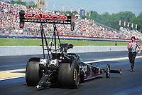 May 6, 2012; Commerce, GA, USA: NHRA crew member for top fuel dragster driver Steve Torrence during the Southern Nationals at Atlanta Dragway. Mandatory Credit: Mark J. Rebilas-