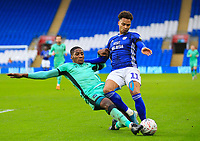 4th January 2020; Cardiff City Stadium, Cardiff, Glamorgan, Wales; English FA Cup Football, Cardiff City versus Carlisle; Josh Murphy of Cardiff City is tackled by Aaron Hayden of Carlisle United - Strictly Editorial Use Only. No use with unauthorized audio, video, data, fixture lists, club/league logos or 'live' services. Online in-match use limited to 120 images, no video emulation. No use in betting, games or single club/league/player publications