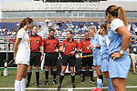 06 September 2015: Referee Tori Penso meets the team captains before the game. The University of North Carolina Tar Heels played the University of Southern California Trojans at Koskinen Stadium in Durham, NC in a 2015 NCAA Division I Women's Soccer match. UNC won the game 2-1.