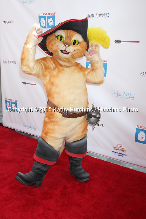 LOS ANGELES - FEB 19:  Puss In Boots at the Milk+Bookies Sixth Annual Story Time Celebration at the Toyota Grand Prix Racecourse on April 19, 2015 in Long Beach, CA