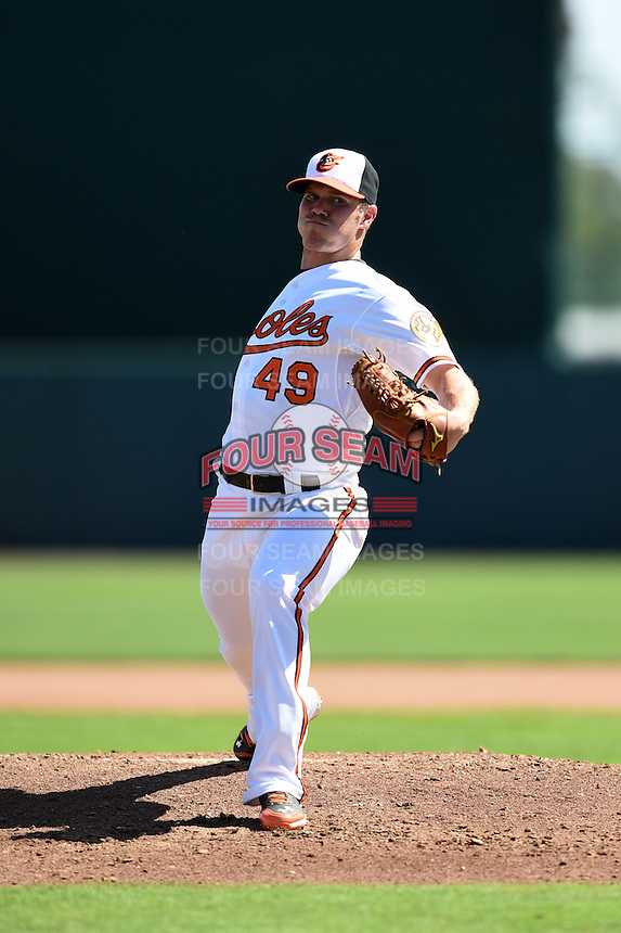 Baltimore Orioles pitcher Dylan Bundy (49) during a Spring Training game against the Detroit Tigers on March 4, 2015 at Ed Smith Stadium in Sarasota, Florida.  Detroit defeated Baltimore 5-4.  (Mike Janes/Four Seam Images)