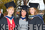 Social Care graduates pictured at the ITT graduations in the Brandon Hotel on Friday: Amanda O'Sullivan (Waterville), Rebecca Gaynor-O'Carroll (Tralee) and Leah Dore (Listowel).